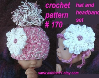INSTANT DOWNLOAD Crochet Pattern PDF 170 Girly Chunky Style Pom Pom Hat, Headband  and flower. sizes up to age 3