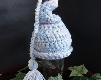 INSTANT DOWNLOAD Crochet Pattern PDF 96- Twisty Top Elf Hat- Newborn size