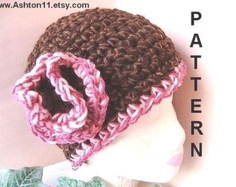 INSTANT DOWNLOAD Crochet Pattern PDF 115, Cloche Hat with a Ruffled Flower,  adult size