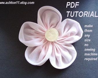 INSTANT DOWNLOAD PDF Tutoral 128- Make this Circle Petal Fabric Flower-No Sewing Machine Required-Permission to sell your finished items
