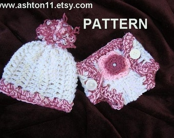 INSTANT DOWNLOAD Crochet Pattern PDF 92, Diaper Cover and hat- beginner level