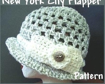 INSTANT DOWNLOAD Crochet Pattern PDF 9- New York City  Flapper Hat- adult size cloche pattern