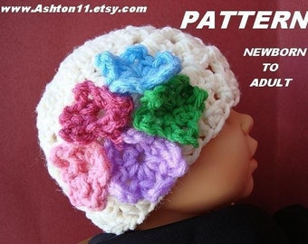 Crochet Hat Pattern - Rachael Shell Stitch Hat with Flowers -Newborn to Adult sizes All-In-One Pattern INSTANT DOWNLOAD PDF 116