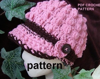 INSTANT DOWNLOAD Crochet Pattern PDF 137 -Adult Size - Pink Bobble Stitch Hat. It's always ok to sell your finished hats using my patterns