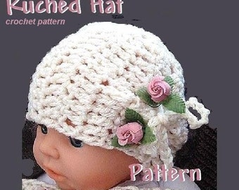 INSTANT DOWNLOAD Crochet Pattern PDF. 63. Ruched Hat, newborn to adult