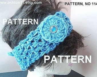 INSTANT DOWNLOAD Crochet Pattern PDF114, Tie-On Headband with Flower, one size fits all, beginner level