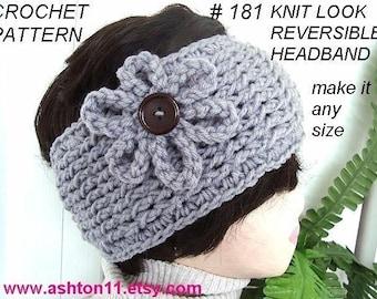 INSTANT DOWNLOAD Crochet Pattern PDF 181-  Reversible Knit look Headband- make it any size