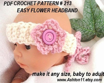 INSTANT DOWNLOAD Crochet Pattern PDF 213 -Easy Flower Headband-Make It Any Size Newborn to Adult