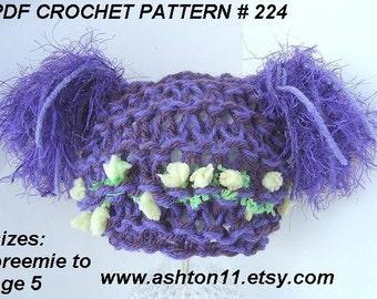 INSTANT DOWNLOAD  Knitting PatternPDF 224, Pattern Purple  Dazzle Tassel Hat , sizes Preemie to Age 5. .