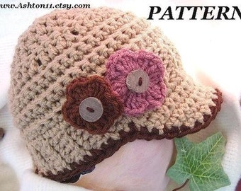 INSTANT DOWNLOAD Crochet Pattern PDF 85-Classic European Newsboy Hat- Size 12 to 16,and 20 inch headband,