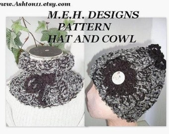 INSTANT DOWNLOAD Crochet Pattern PDF 89, hat and cowl, 2 patterns. beginner level
