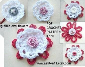 INSTANT DOWNLOAD Crochet Pattern PDF 150 Beginner Level Flower Applique