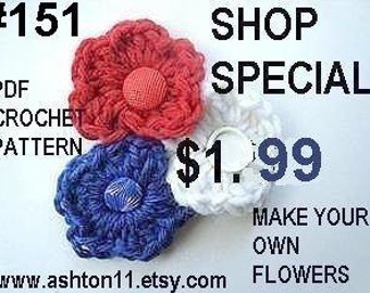 INSTANT DOWNLOAD Crochet Pattern PDF 151  Patriotic Flower to make into a brooch, barrette headband.