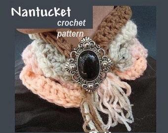 INSTANT DOWNLOAD Crochet Pattern PDF17-Nantucket Scarf or  neckwarmer