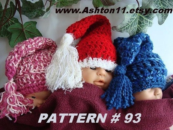 CROCHET PATTERN SANTA BABY number 93 SANTA BABY HAT...