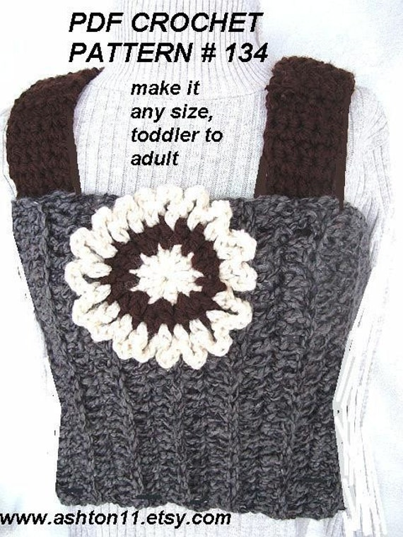 CROCHET PATTERN, no 134..... TUBE TOP..... MAKE IT ANY SIZE, TODDLER TO ADULT.... MAKE IT WITH STRAPS OR WITHOUT.