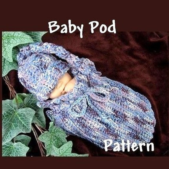 Crochet Baby Bunting Bag Patterns : crochet PATTERN no. 20 .. UNISEX POD COCOON BUNTING BAG 2