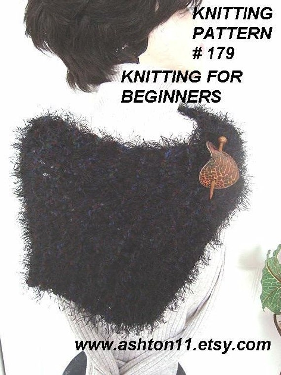 INSTANT DOWNLOAD  Knitting for Beginners PDF 179 Knit Cowl - Novice beginner,Scarf, Shawl, or Capelet
