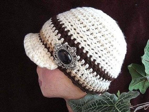 Crochet Pattern PDF  81 .Newsboy Hat, adult size
