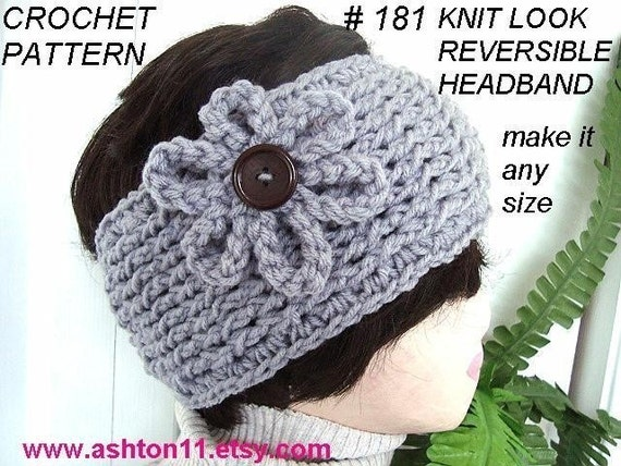 INSTANT DOWNLOAD Crochet Pattern PDF 181-  Reversible Knit look Headband- make it any size