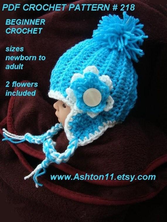 Crochet Earflap Hat Patterns For Beginners : INSTANT DOWNLOAD Crochet Earflap Hat Pattern Beginner by ...