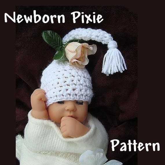 crochet PATTERN...no 13 NEWBORN WHITE PIXIE HAT...photo prop