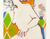 Fine Art Print of Mixed Media Original Watercolor Ink Colored Pencil Gouache Woman Nude Portrait