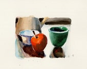 Apple and green bowl- Original watercolor painting