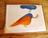 Modern Colorful Art Three Bird Greeting Cards-