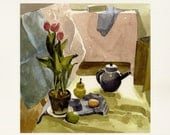 Fine Art Print of Original Watercolor Painting Kitchen Art -Tulips and Tea