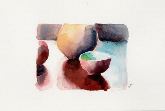 After tea- Original watercolor miniature