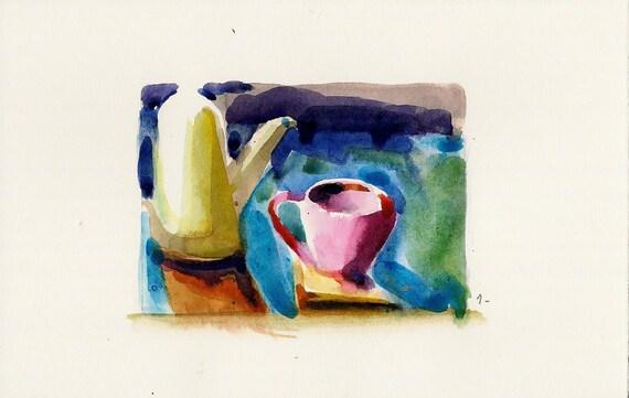 MOVING SALE-Pink tea cup- Original watercolor painting-