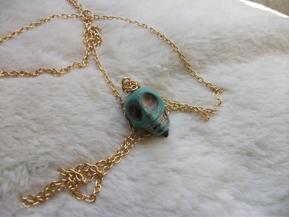 "30"" Long Layering Turquoise Skull Pendant Necklace"
