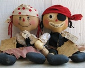 FTFD 2  Prim Captain and Penny the Pirates - Primitive Rag Doll e-pattern