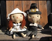 FTFD 44- Prim Pilgrims - primitive Thanksgiving / Fall raggedy doll E-PATTERN