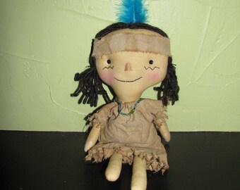 FTFD 42- Prim Indian- Thanksgiving / Fall decor - primitive raggedy doll E-PATTERN