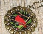 Bird of Paradise photo pendant antiqued bronze color