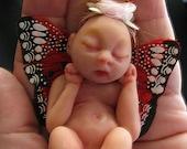 Pink Pixie Newborn Fae Sarah-Oaak Polymer Clay Miniature by Lisette Gonzalez