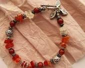 "Autumn Fire,  Carnelian Single Strand 7.5"" Bracelet"