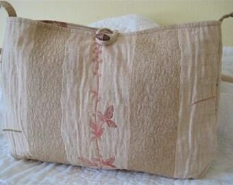 Textured Floral Shoulder Bag