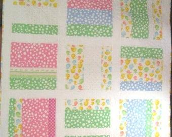 Ducks in a Row Baby Quilt,modern baby quilt,baby blanket,baby shower present, gift, girls blanket,