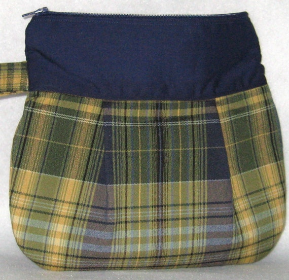 Navy Blue and Green Plaid Wristlet