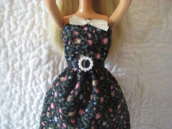 Black Floral with White Satin Bow and Black Satin Waistband