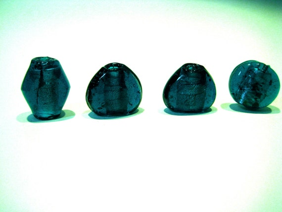Set of 4 Large  Very Dark Turquoise Glass Beads