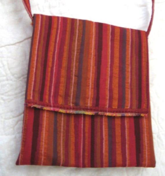 Small Striped Shoulder Bag with Batik Sunflowers