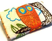 Wallet Leather Embroidery Orange Owl Applique Tree Nature Handmade by sewZinski on Etsy