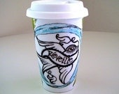Ceramic Travel Mug Eco Cup Tattoo Roses Bird French White Red Blue Hand Painted tattoo swallow sailor tattoos - MADE TO ORDER