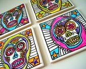 Coasters Set Ceramic Tile Sugar Skull Hand Painted Tattoo Mexican Folk Art Day of the Dead Calavera by sewZinski on Etsy