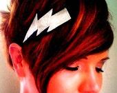 Lightning Bolt Headband Silver Leather Super Hero Wizard comic pop Rock Punk metallic black felt handmade by sewZinski on Etsy