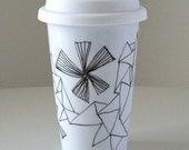Ceramic Travel Mug Black and White Triangles Eco Friendly Geometric Hand Painted Geekery - Black Friday Etsy Cyber Monday Etsy